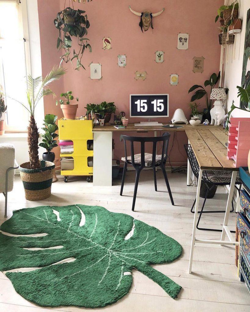 tapis lavable en machine lorena canals feuille coin bureau - blog déco - clem around the corner