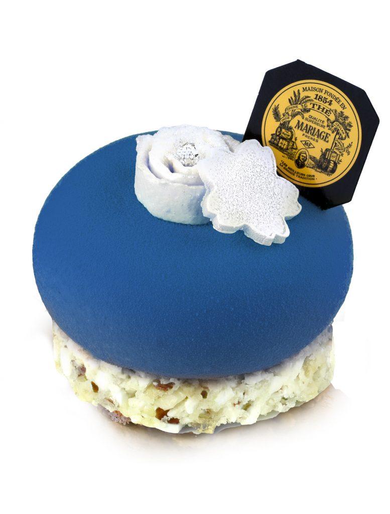 Mariage Frères dessert parfumé thé vert dôme bleu mousse lait amande croquant dragée - blog déco - clem around the corner