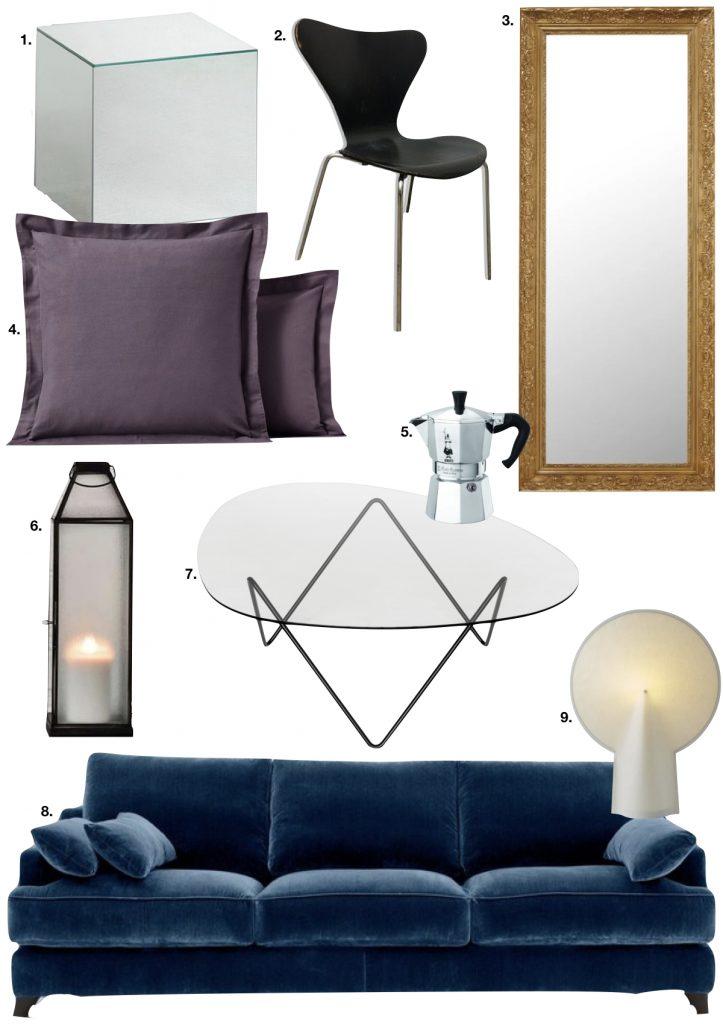 idée déco studio canapé velours table basse verre lanterne lampe miroir cafetière coussin violet - blog déco - clem around the corner