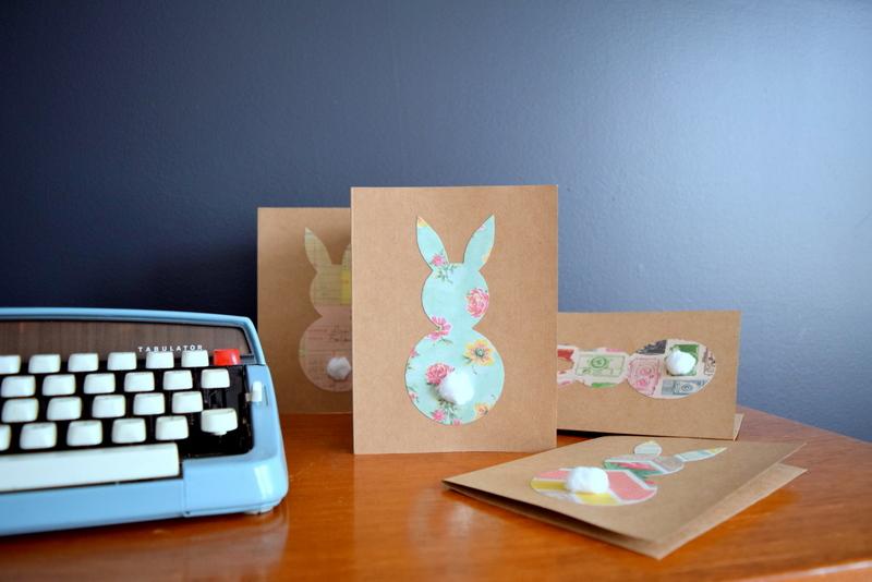Pâques diy carte lapin vintage papier fleuri bleu pastel - blog déco - clem around the corner