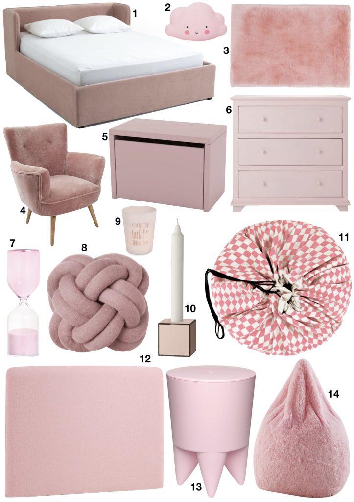 chambre rose et verte shopping list objets décoratif tendance blush - blog déco - clem around the corner