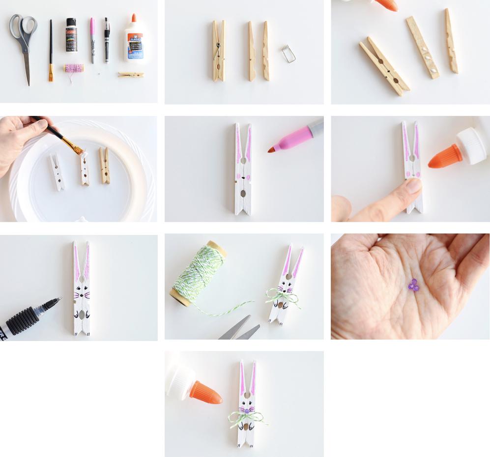 Pâques diy pince linge lapin peinture blanche ficelle stylo bleu - blog déco - clem around the corner