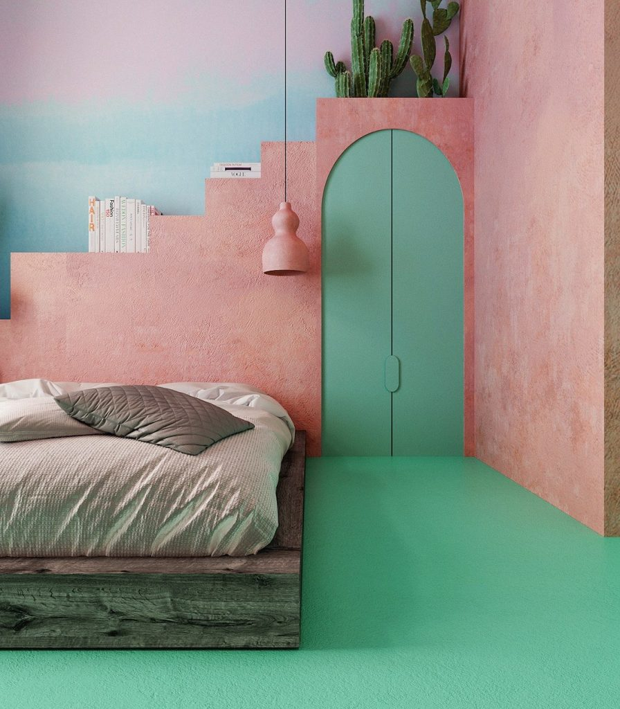 chambre rose et verte original pastel flashy - blog déco - clem around the corner