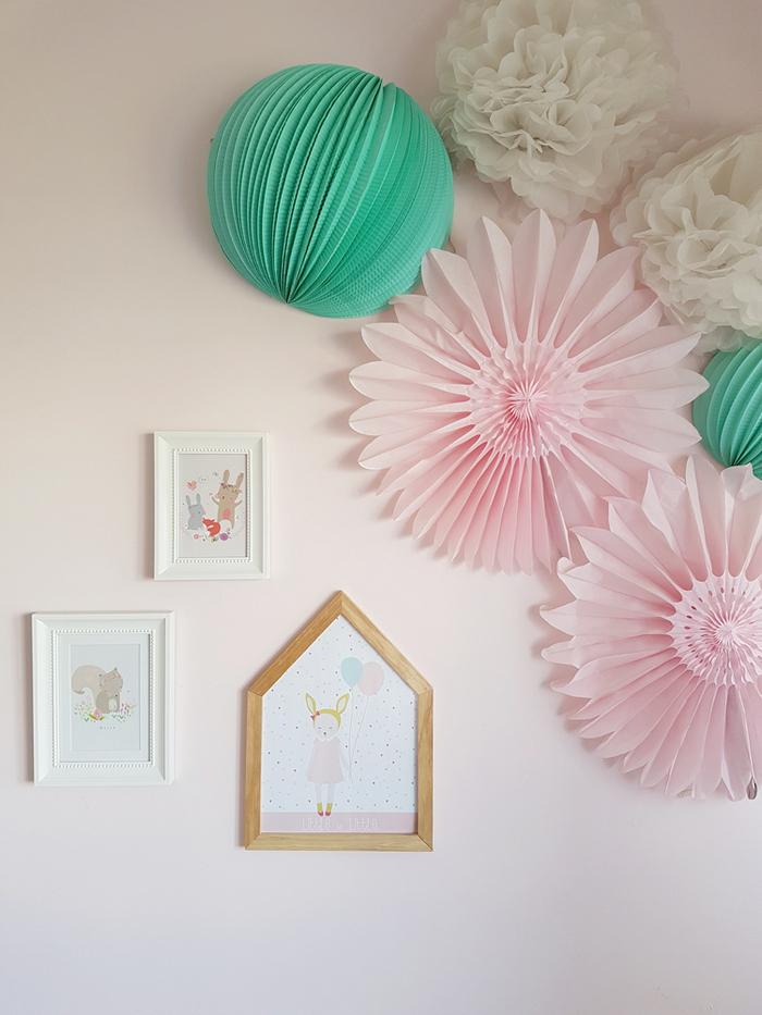 chambre rose et verte décoration papier mural menthe étoile - blog déco - clem around the corner
