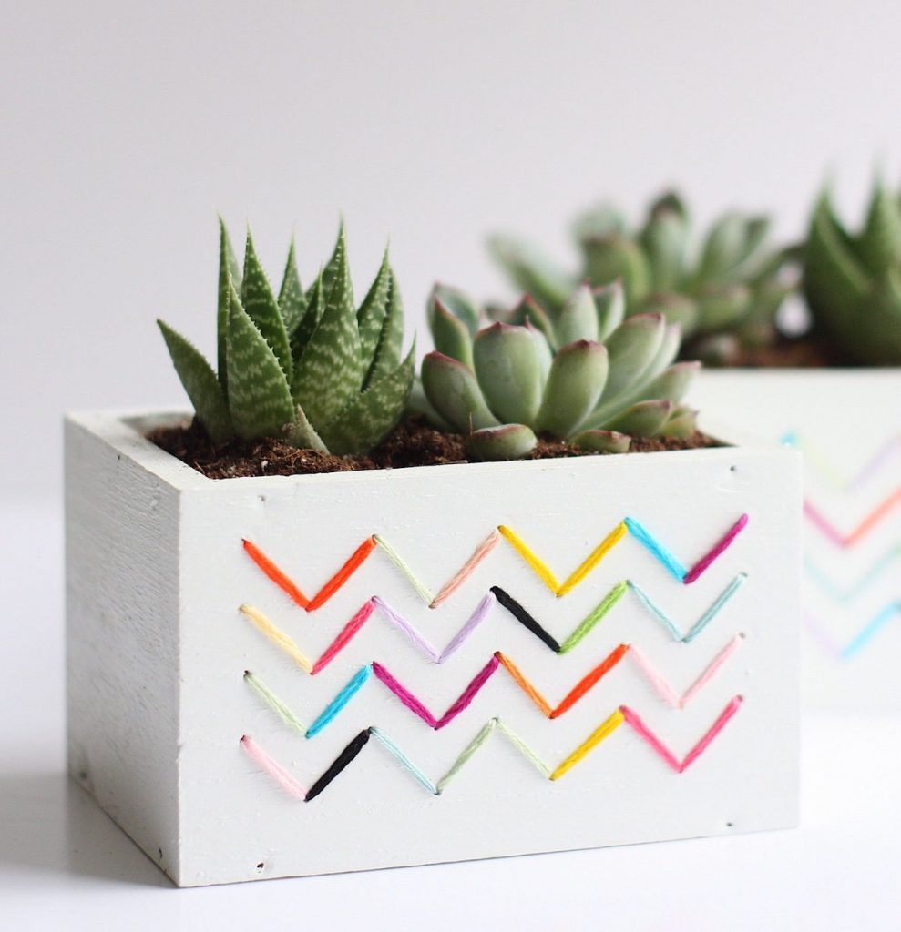 cache-pot diy bois rectangle plante grasse ficelle - blog déco - clem around the corner