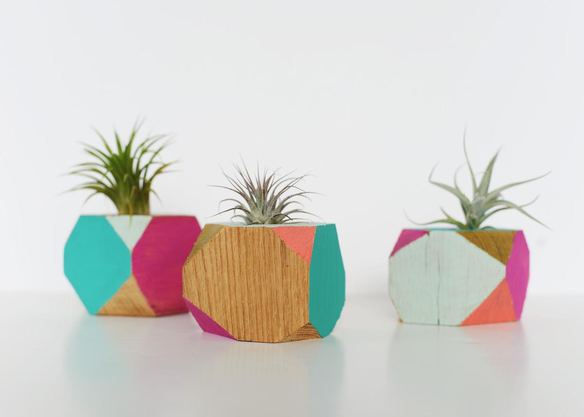 cache pot diy bois géométrique plante grasse petit - blog déco - clem around the corner