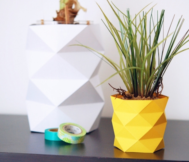 cache pot vase origami papier jaune style ananas blanc pot - blog déco - clem around the corner