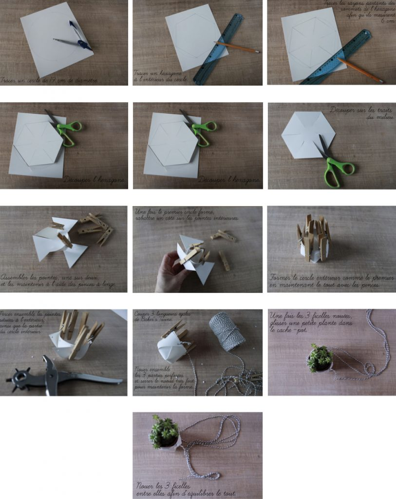 cache pot diy facile tuto origami suspension bricolage ficelle suspension - blog déco - clem around the corner
