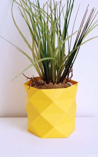 cache pot vase origami papier jaune effet ananas - blog déco - clem around the corner.jpg