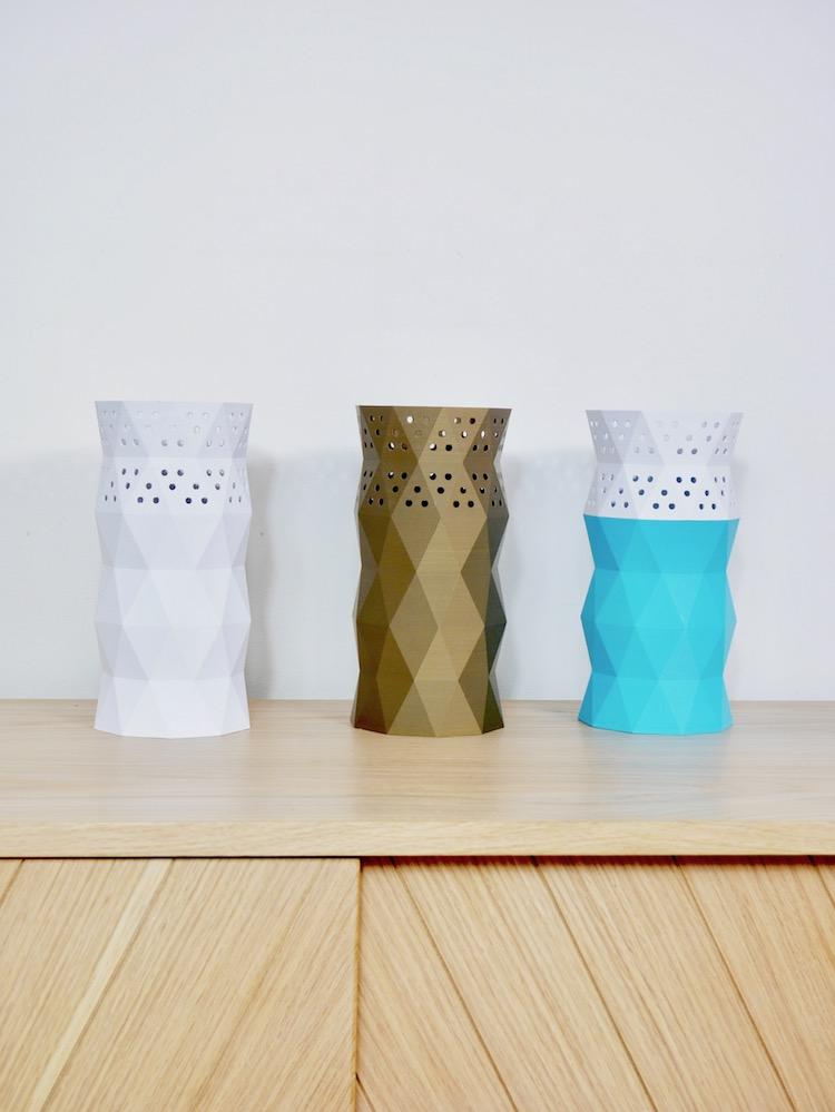 cache pot vase imprimante 3D bleu blanc cuivre - blog déco - clem around the corner