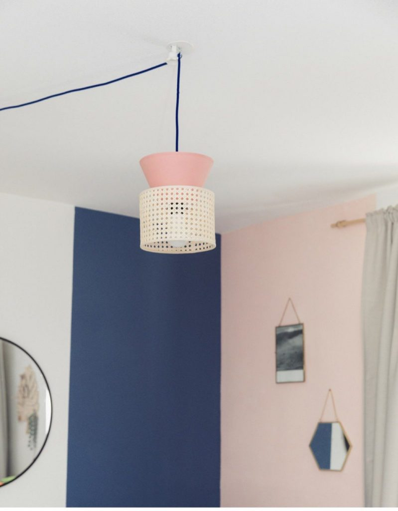 cannage diy lampe double rose création décoration - blog déco - clem around the corner
