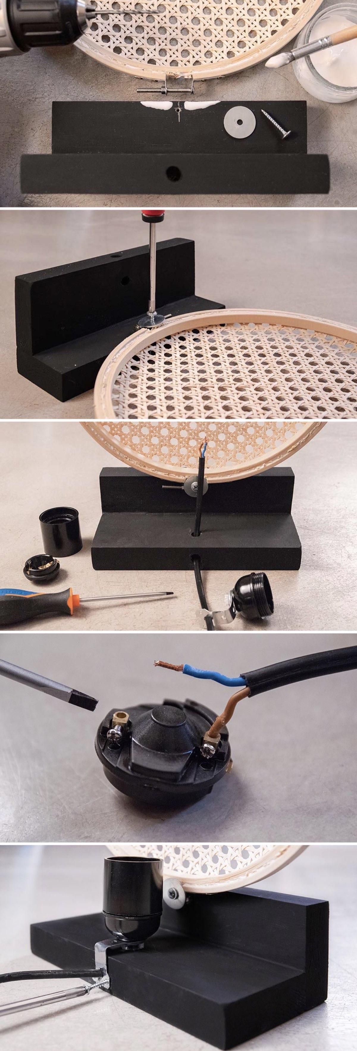 cannage diy lampe design socle noir création décoration - blog déco - clem around the corner