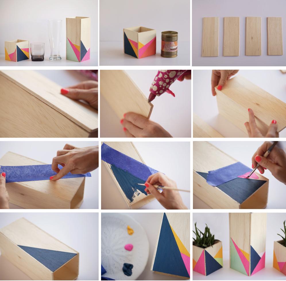 cache pot bois rectangle fluo tuto facile pratique rapide peinture - blog déco - clem around the corner