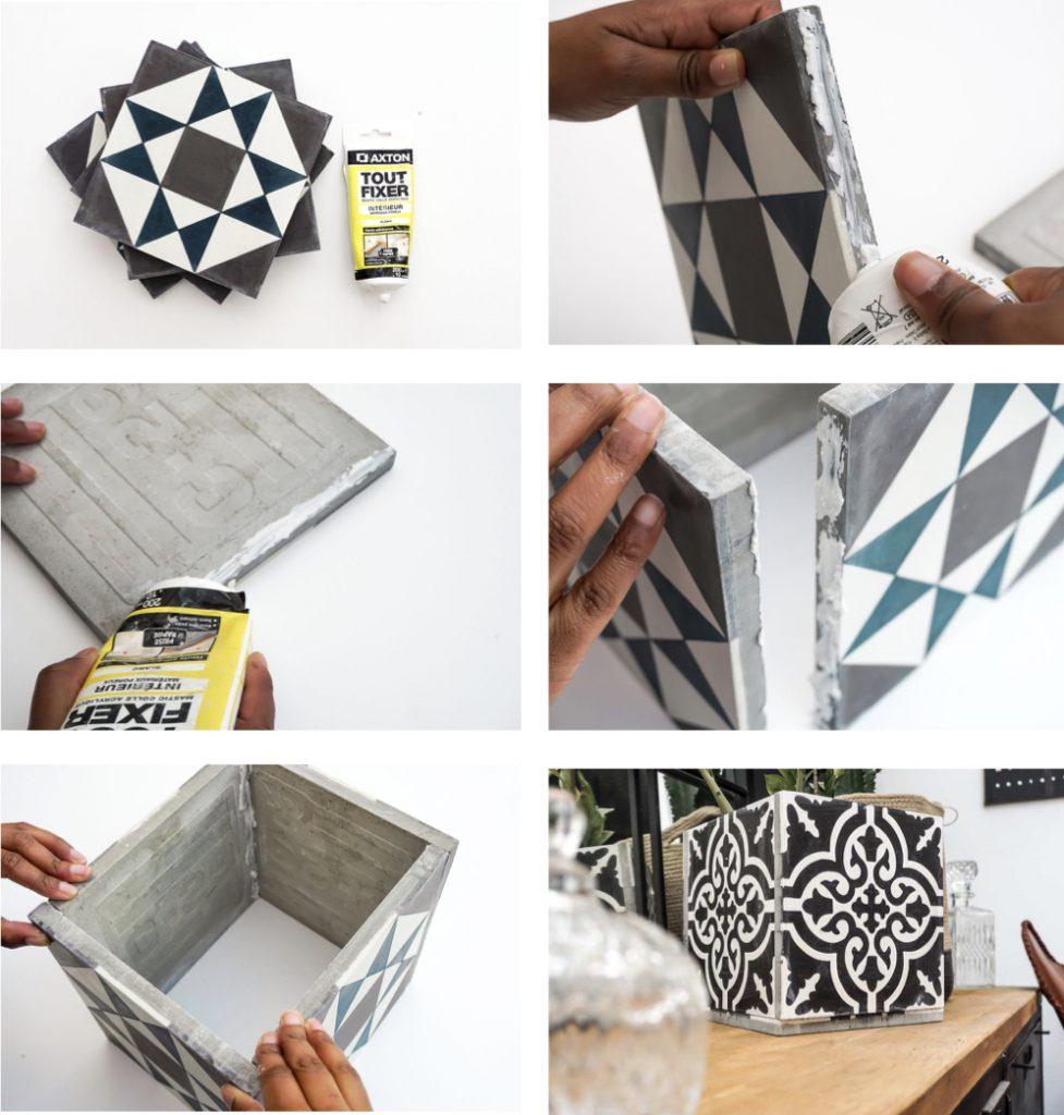 cache pot ciment vintage noir et blanc tuto bricolage rapide - blog déco - clem around the corner