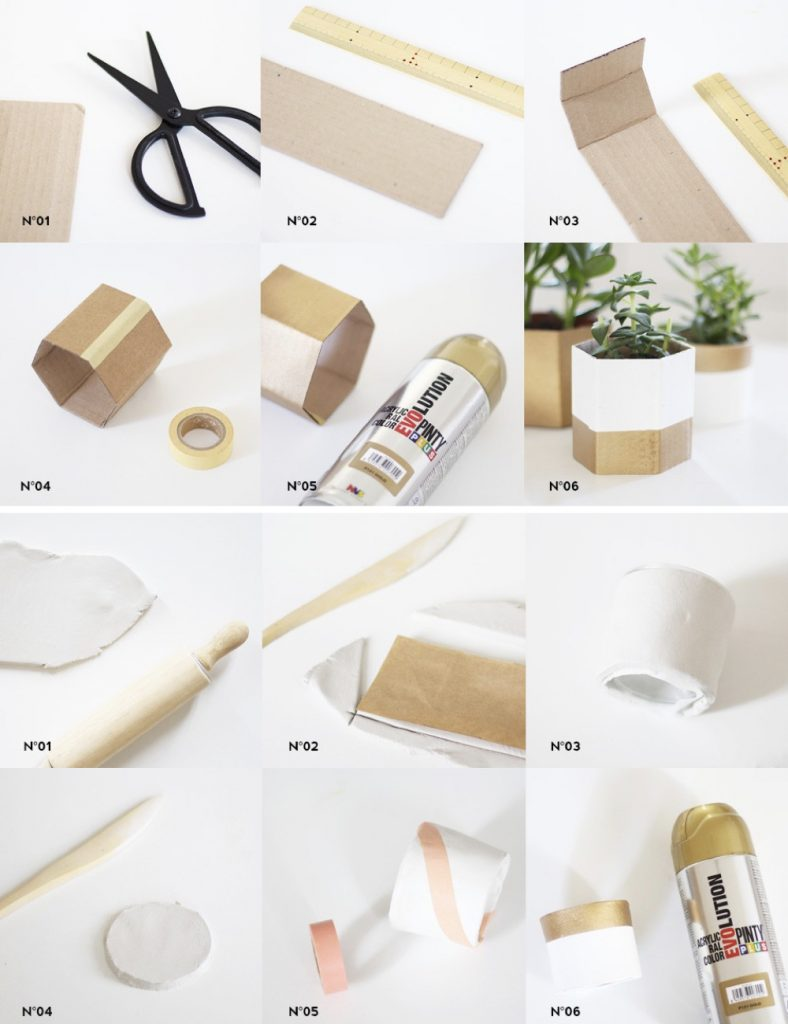 cache pot tuto carton style métallisé doré blanc diy - blog déco - clem around the corner