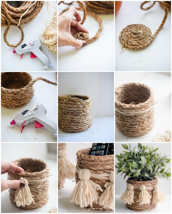 cache pot tuto bricolage corde pompon support plante diy - blog déco - clem around the corner