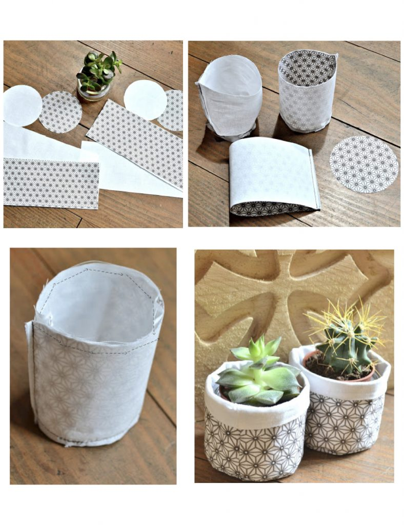 cache pot diy tuto tissu japon style étoile - blog déco - clem around the corner