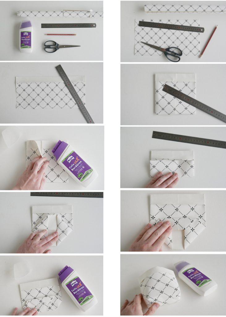 cache pot diy papier peint récupération bricolage règle colle - blog déco - clem around the corner