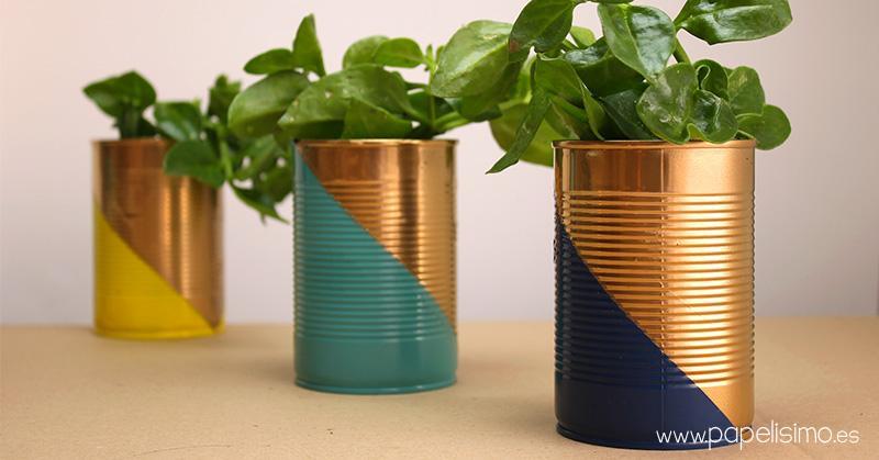 cache pot diy conserve boite tuto peinture plante forme géométrique - blog déco - clem around the corner