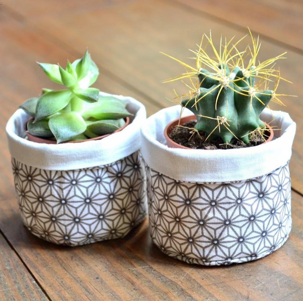 cache pot style japonais marron blanc chutes tissus - blog déco - clem around the corner