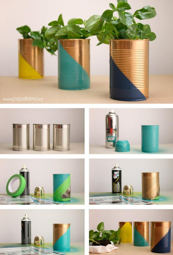 cache pot diy récup conserve forme géométrique tuto - blog déco - clem around the corner