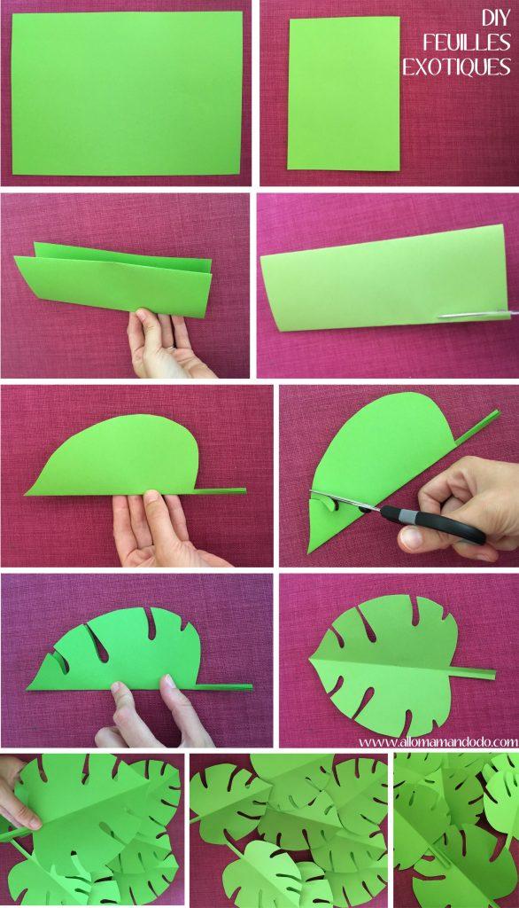 table style jungle feuille papier vert diy ciseaux table rose - blog déco - clem around the corner