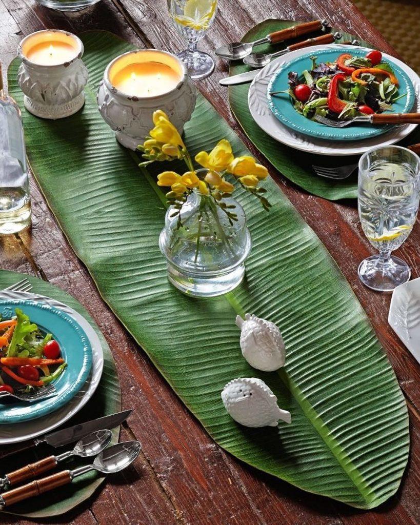 table style jungle rustique set table feuille vert bois - blog déco - clem around the corner