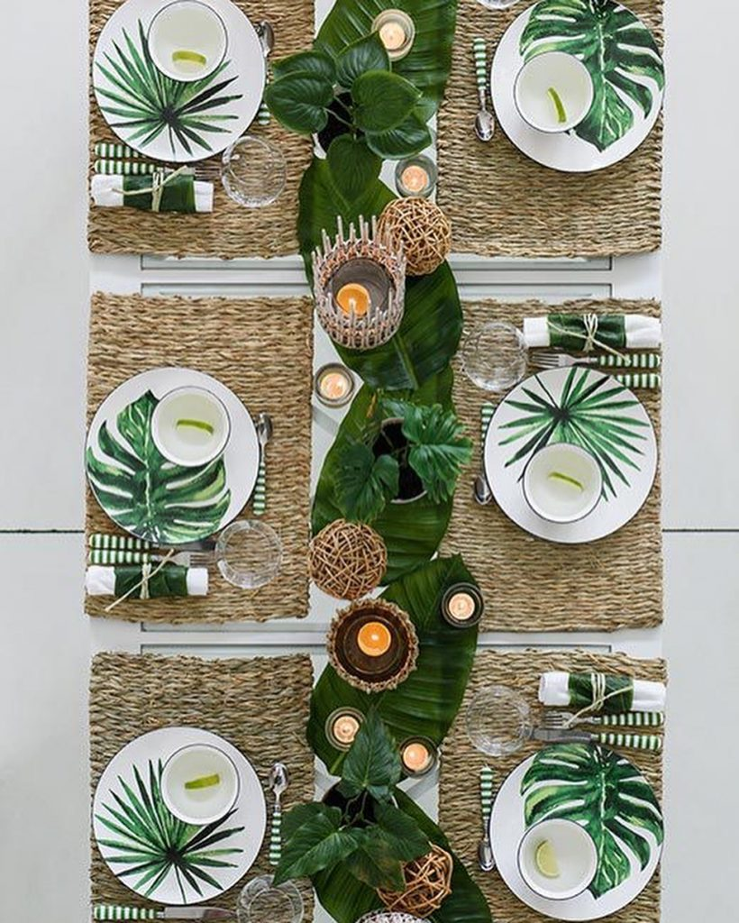 table style jungle rustique set table rectangle couvert rayure vert blanc - blog déco - clem around the corner