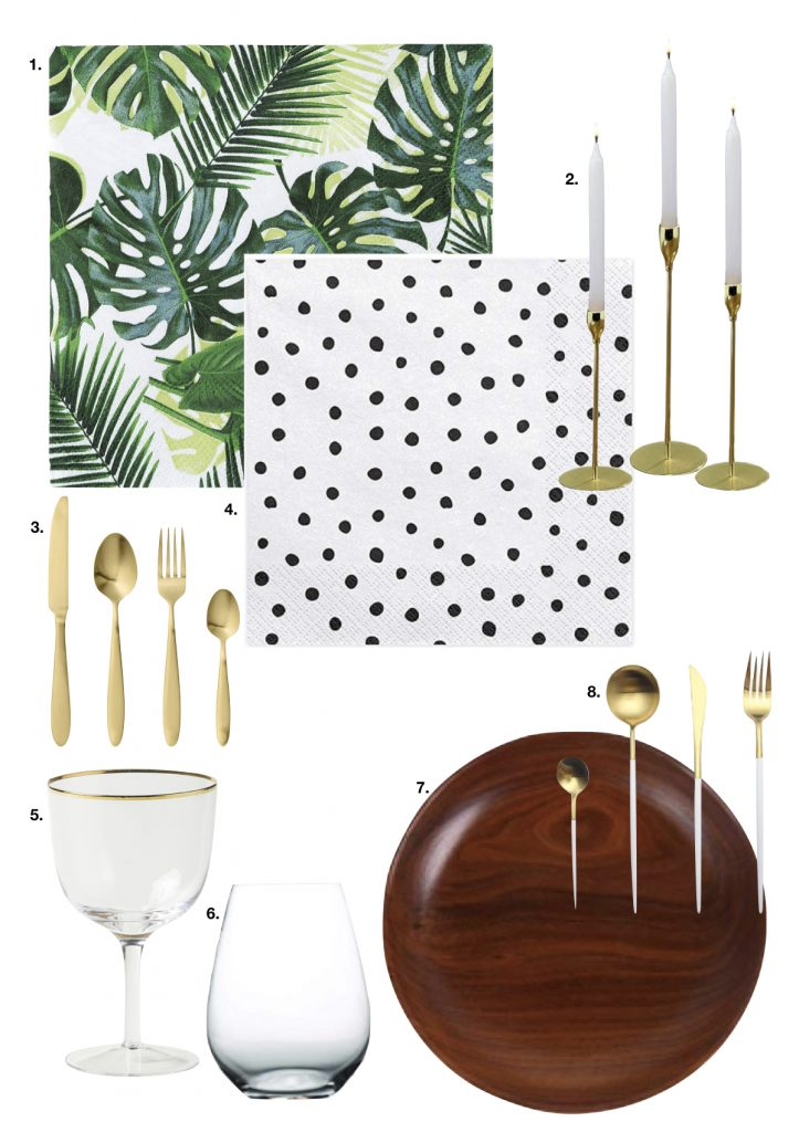 table style jungle sobre chic assiette bois couvert or serviette pois - blog déco - clem around the corner