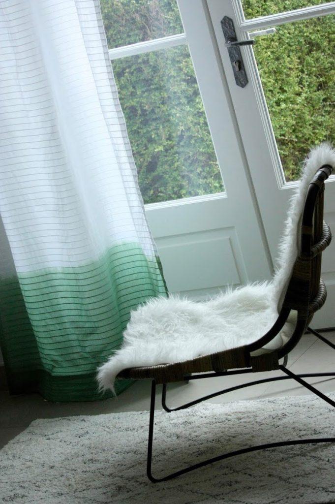 vert dégradé diy teinture rideau fourrure plaid