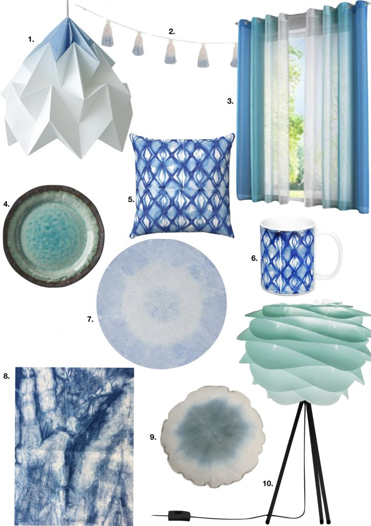 tie and dye bleu lampe mug nappe tapis - blog déco - clem around the corner