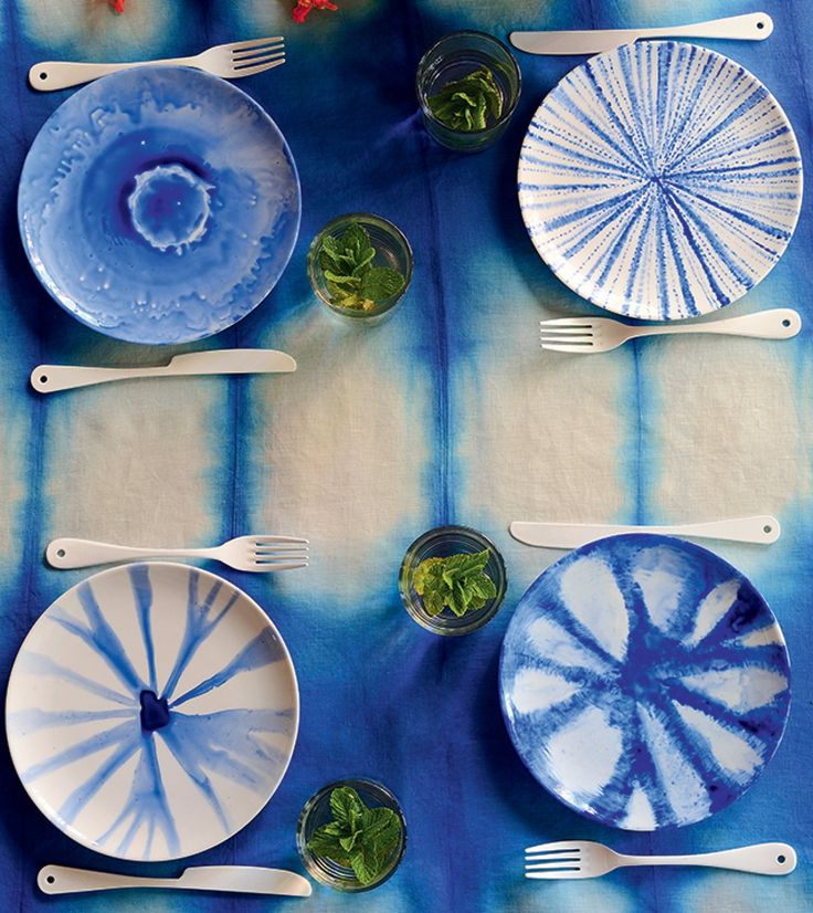 tie and dye bleu table assiette nappe - blog déco - clem around the corner