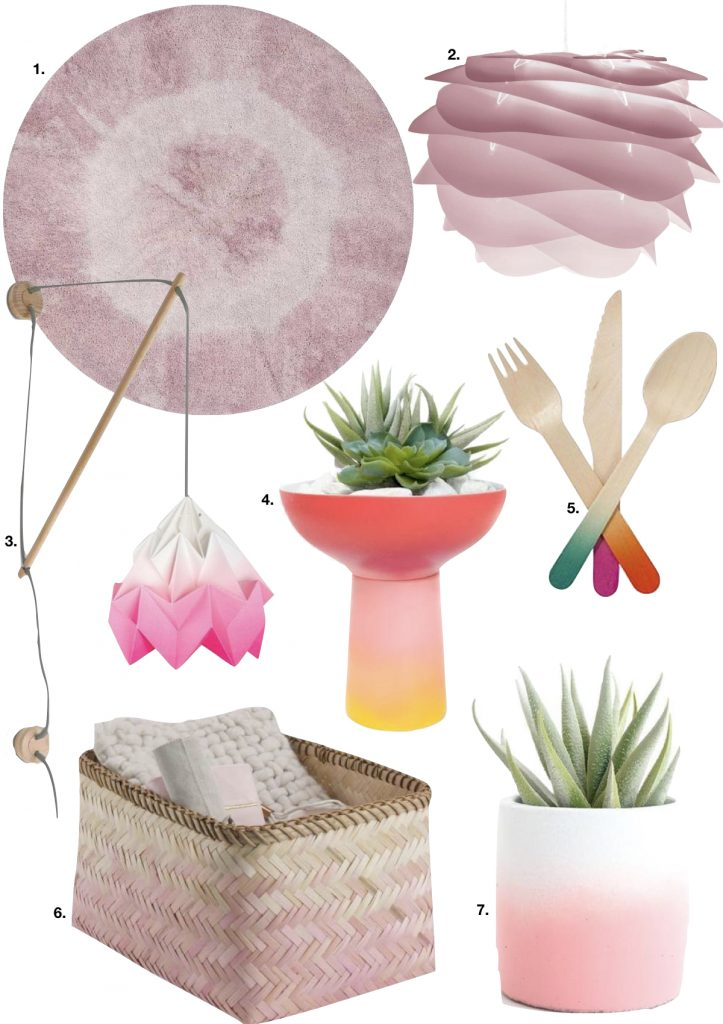tie and dye lampe panier osier couvert bois tapis rose - blog déco - clem around the corner