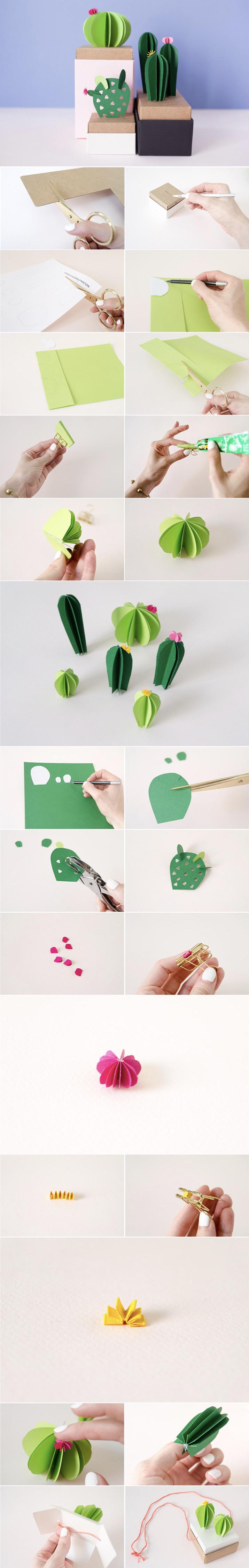 plante en papier cactus diy original - blog déco - clem around the corner