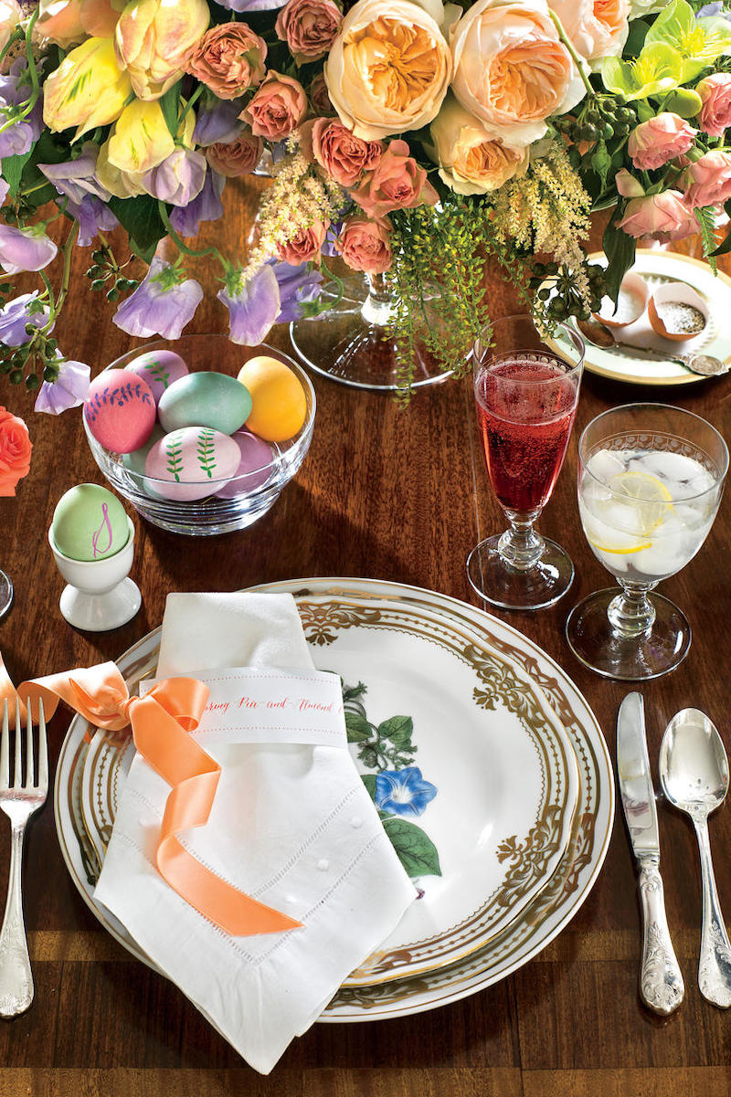 table de pâques déco bucolique couleurs bouquet vaisselle vintage - blog déco - clem around the corner