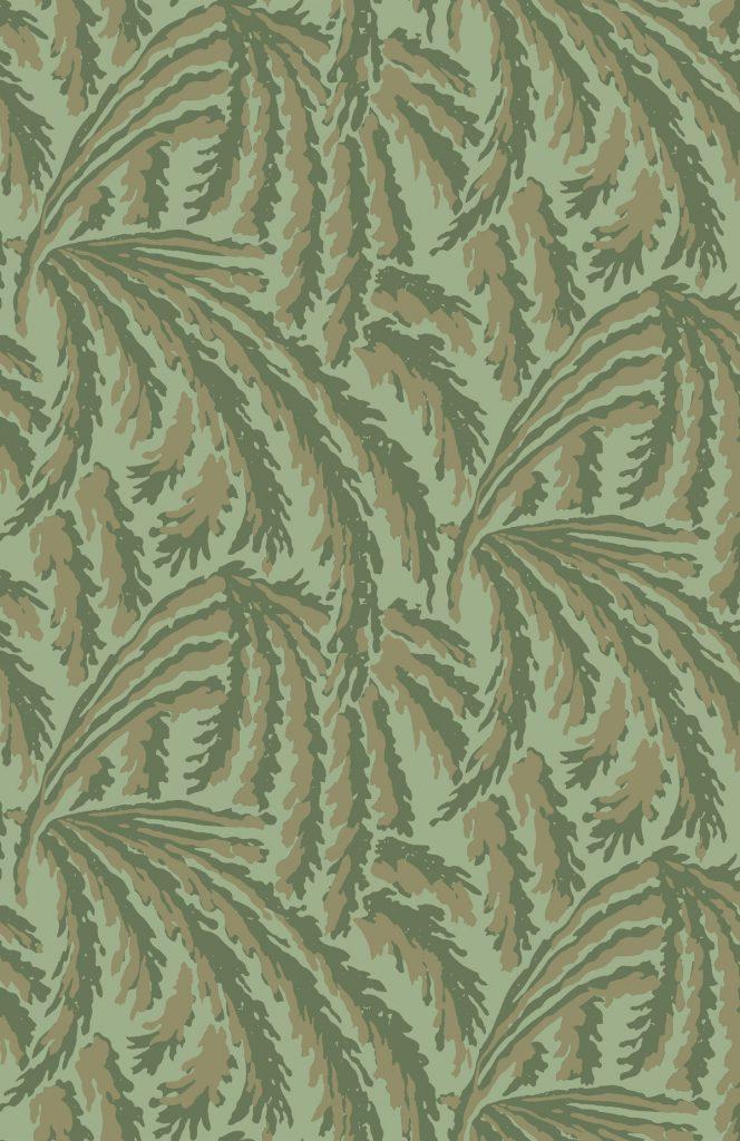 shauna dennison papier peint végétal art déco olive green - blog déco - clem around the corner
