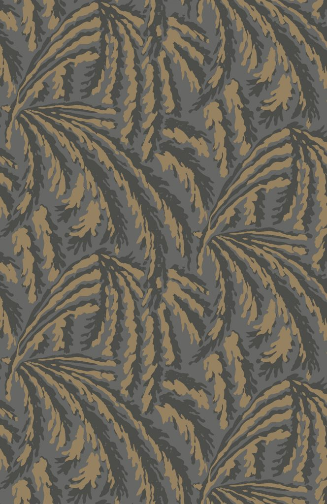 shauna dennison papier peint végetal art déco dark grey and gold - blog déco - clem around the corner