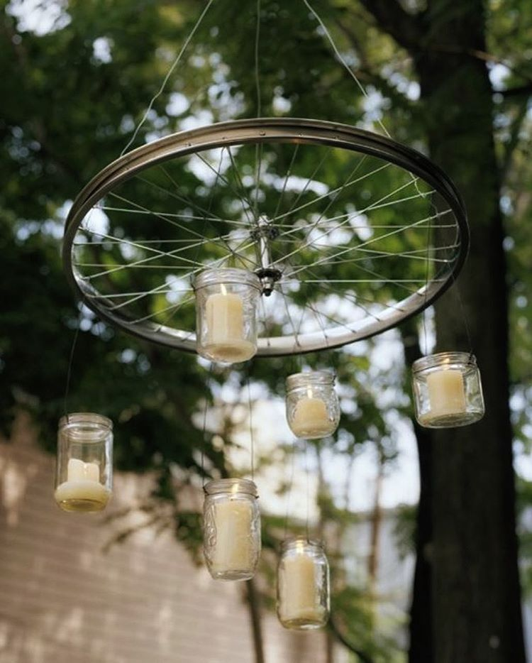 déco vélo mariage roue suspension bougie style rétro - blog déco - clem around the corner