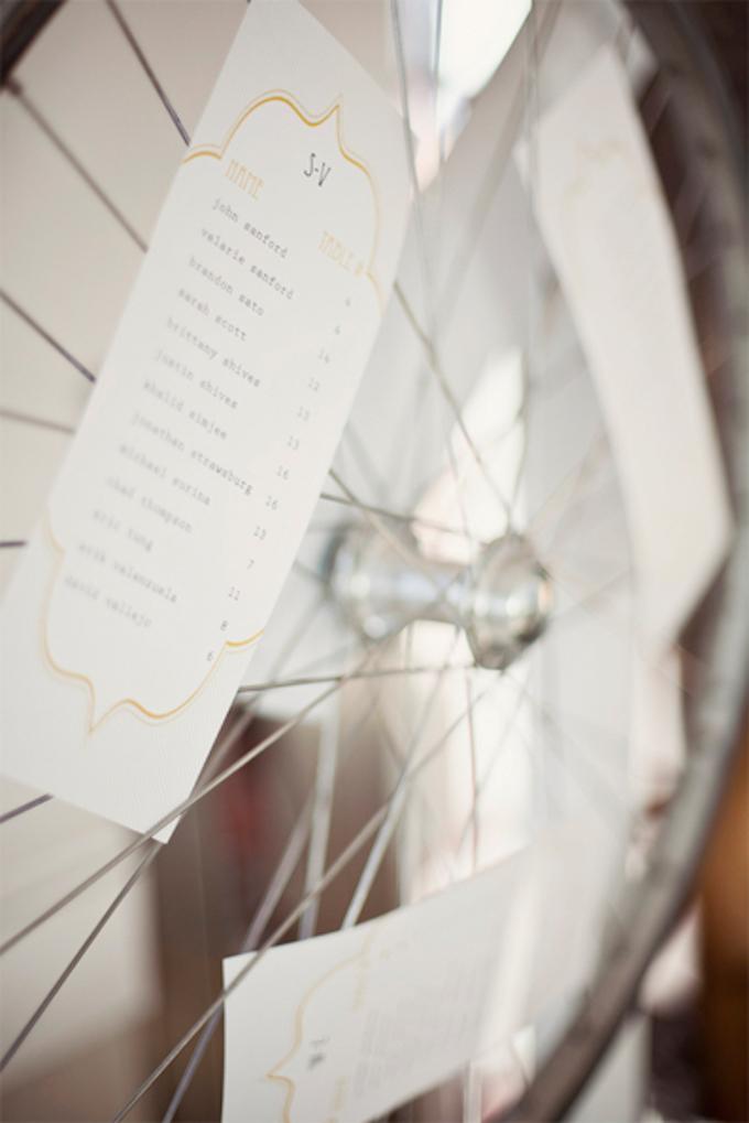 déco vélo mariage plan de table jaune roue - blog déco - clem around the corner