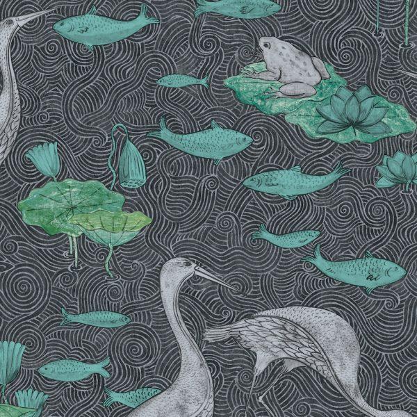 shauna dennison papier peint poétique héron poisson - blog déco - clem around the corner