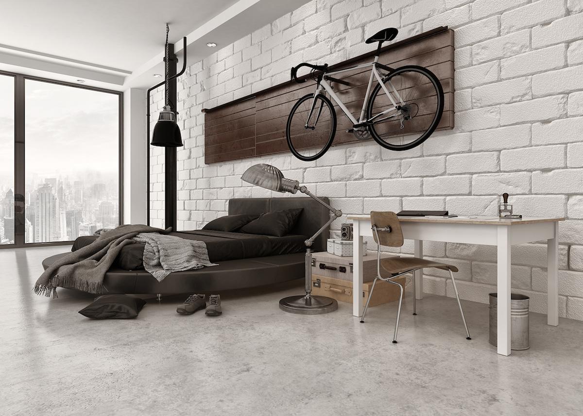 déco vélo chambre style industriel marron - blog déco - clem around the corner