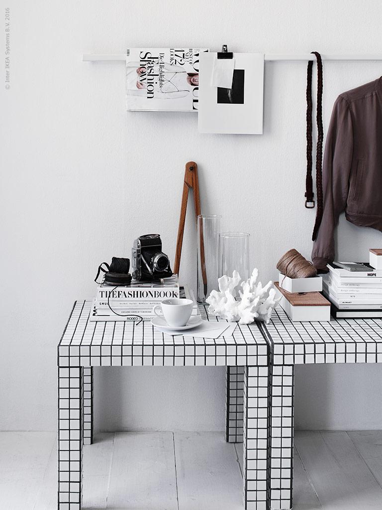 lack ikea hack mosaïque blanc et noir décoration minimaliste - blog déco - clem around the corner