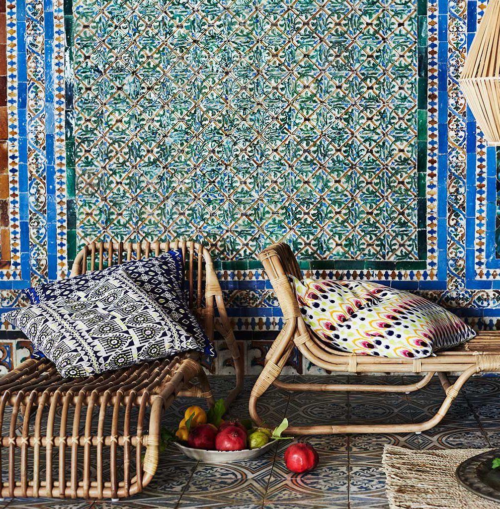 méridienne rotin style ethnique carreaux bleu coussin - blog déco - clem around the corner
