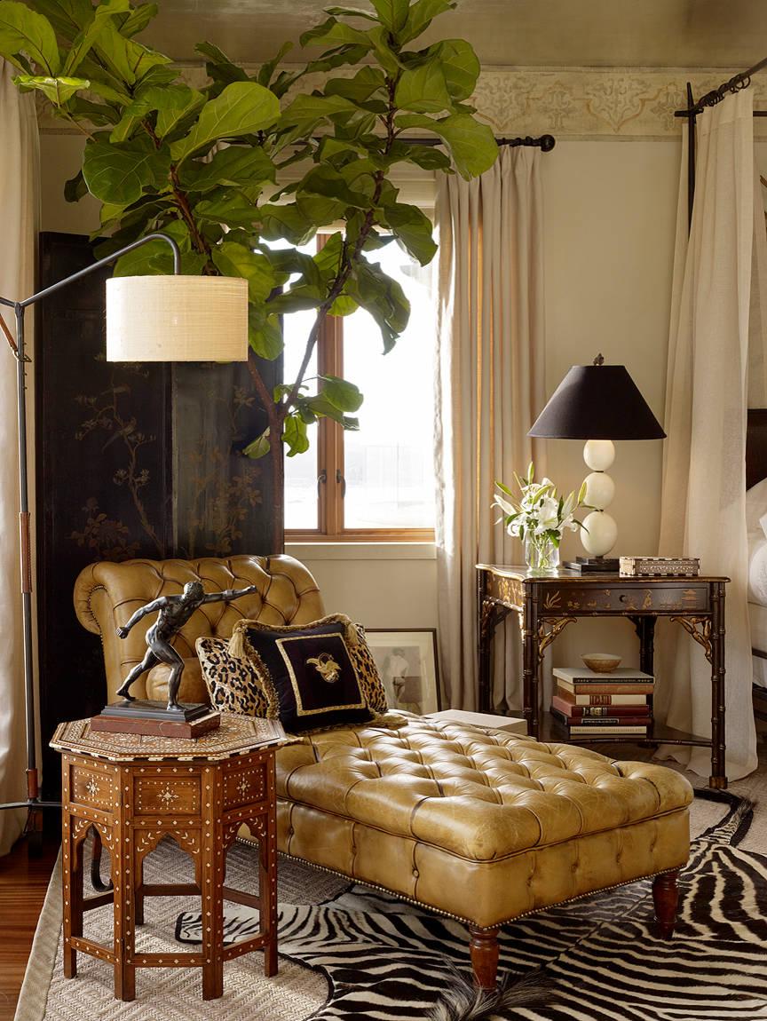 méridienne cuir marron Chesterfield salon table basse bois - blog déco - clem around the corner