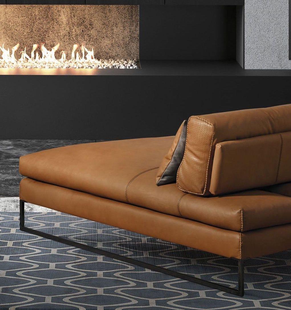 méridienne cuir marron coin de feu tapis bleu - blog déco - clem around the corner