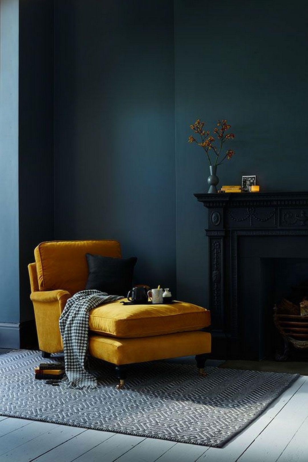 méridienne velours jaune moutarde salon vintage bleu marine canard - blog déco - clem around the corner