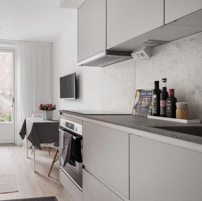 déco gris rose cuisine ouverte scandinave style - blog déco - clem around the corner