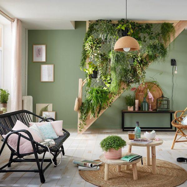 escaliers originaux végétal décoration plantes vertes salon bucolique printemps - blog déco - clem around the corner