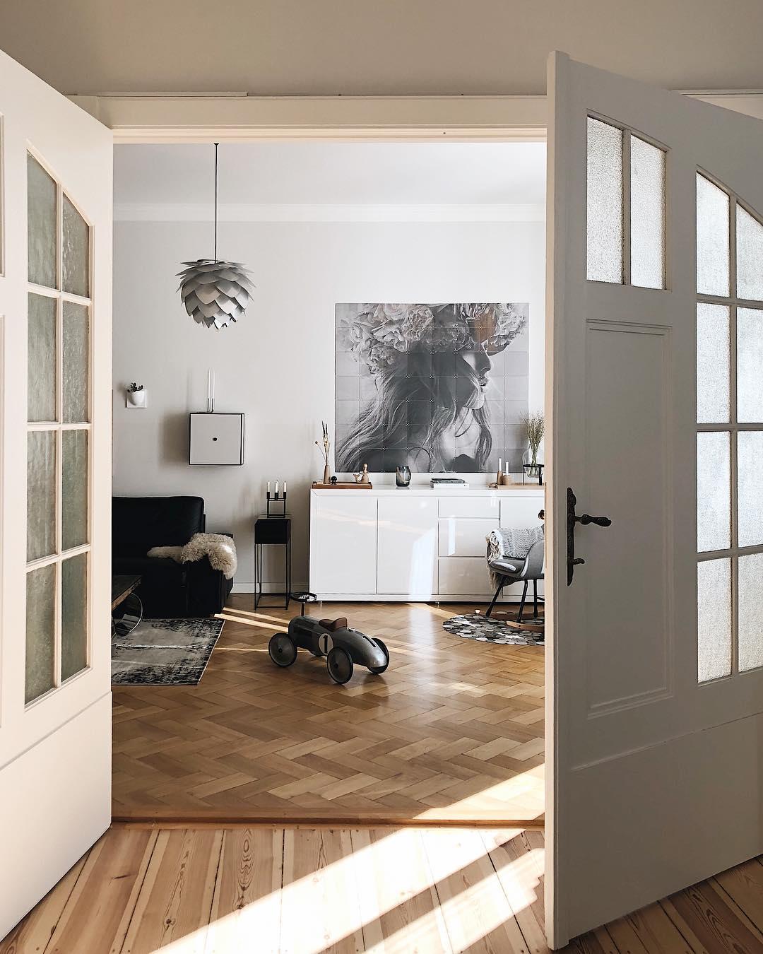 couleur pastel chambre porte ouverture salon parquet bois gris parquet bois lamé - blog déco - clem around the corner