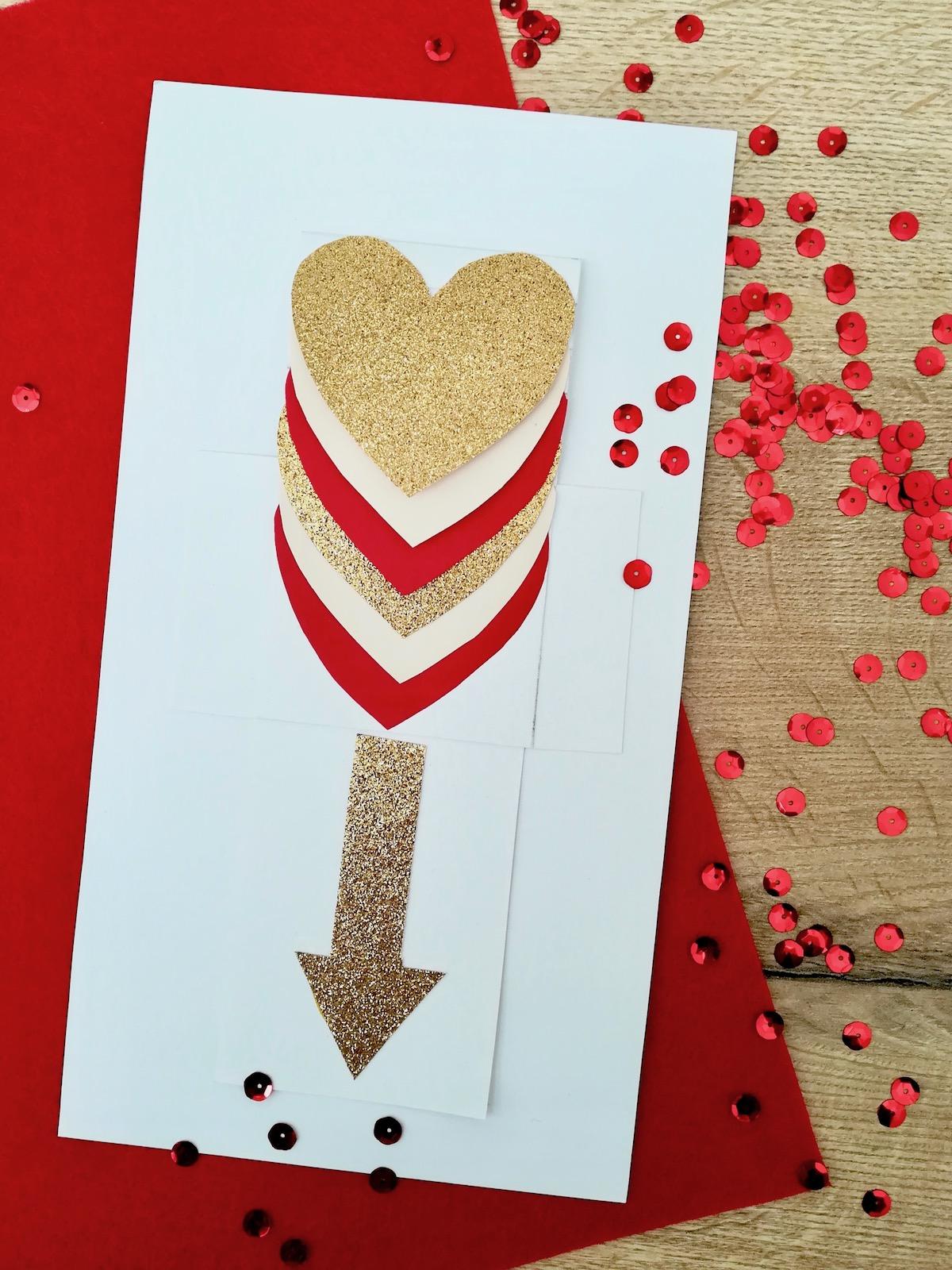 carte fête des mères interactive 3d coeur saint Valentin rouge doré paillette- blog déco - clem around the corner